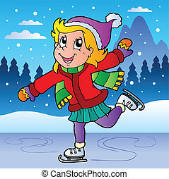 Winter scene with skating girl - vector illustration.