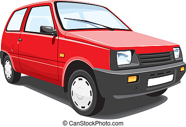 Red city car - Vector isolated red car on white background,...