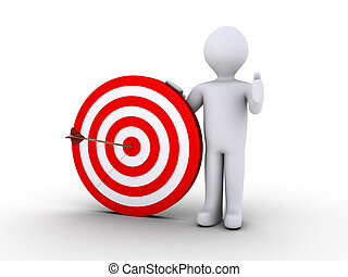 Right on target - 3d person is holding a target with an...