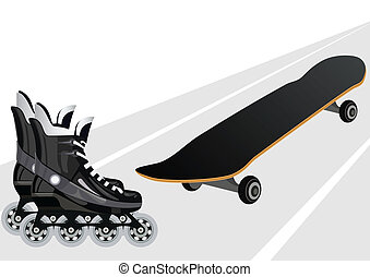 Roller skates and skateboards - Skateboard and roller skates...