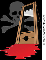 The death penalty - Guillotine with a raised knife. Tool to...