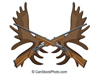 Hunting rifles and antlers of elk - Hunting rifles against...