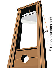 Guillotine with a raised knife. Tool to perform executions....