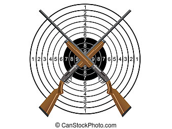 Hunting rifles and target - Two hunting rifles against the...