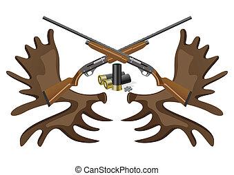 Ammunition, guns and horns.