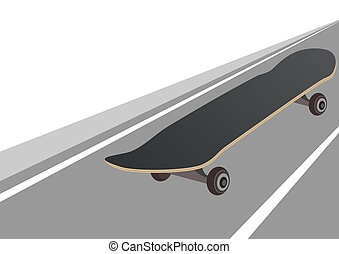 Skateboard on the background of the road The illustration on...