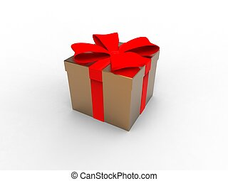 3d illustration of a gift wrapped in a box gold with a red satin ribbon