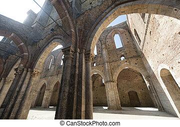 San Galgano (Siena, Tuscany, Italy), the famous open...
