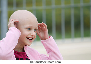 cancer child - beautiful caucasian girl undergoing...