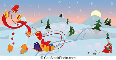 Snow man in red scarf banner