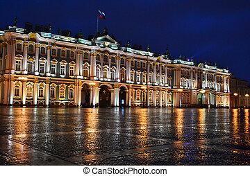 The State Hermitage Museum at night in StPetersburg, Russia...