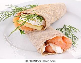 buckwheat crepe with salmon - buckwheat crepe with cheese...