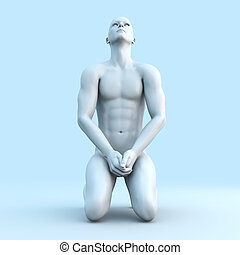 Meditation - Symbolic 3D rendered illustration of a generic...