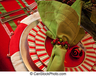 Holiday Table - A table set for a holiday meal.