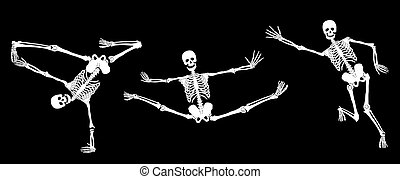 White active skeletons on black Set 3 Vector