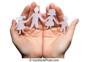Paper chain family protected in cupped hands on white...