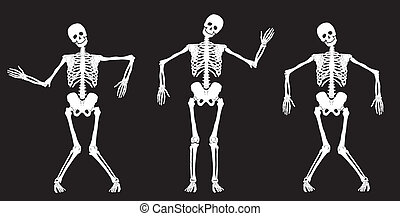 White dancing skeletons on black. Set #1. Vector