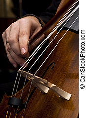 Male hands playing cello