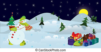 Snowman and Christmas tree in the pot banner