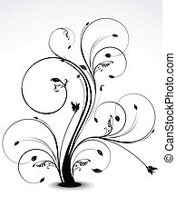 abstract smooth floral in black vector illustration