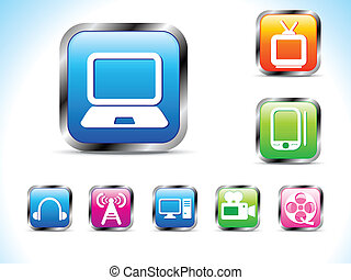 abstract technology icon with butto