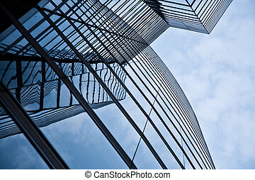 glas front of the Uniqa tower in vienna with sky