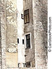 façade, Maisons, brique, vieux, Vienne