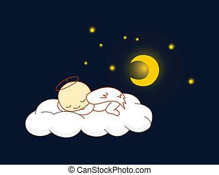 Angel sleeping - Cute kid in angel costume sleeping on a...