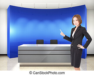 Business woman in entrance - collage