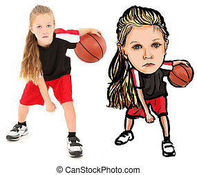 niño, baloncesto, Plano de fondo, dibujo, caricatura,...