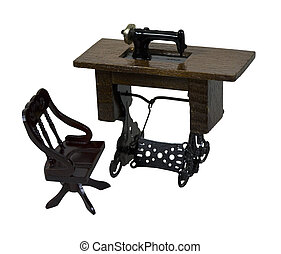 Sewing Machine and Chair - Antique table sewing machine with...