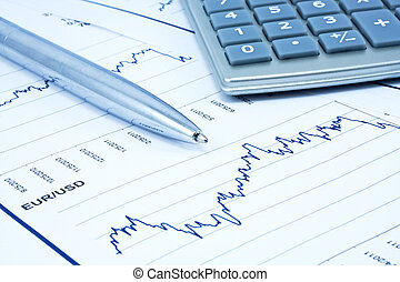 Background of business diagram, calculator and pen