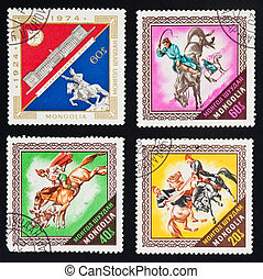 MONGOLIA - CIRCA 1974 : A collection of four stamps printed...