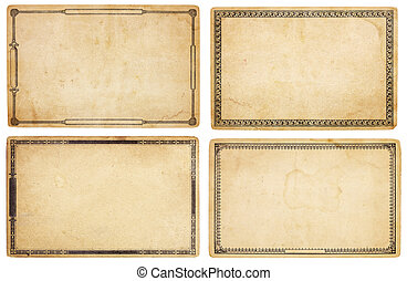 Four Old Cards with Decorative Borders - A set of four...