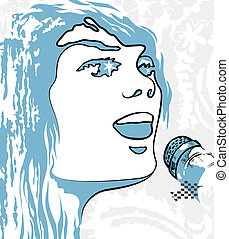 Vector with image person  singing