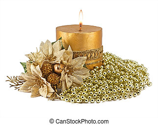 Candles with Christmas decorations on white