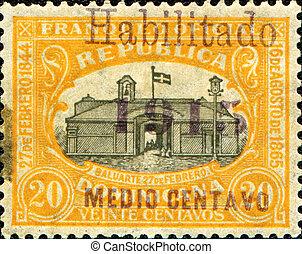 REPUBLICA DOMINICA - CIRCA 1915: A stamp printed in...