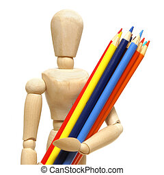 Artist Mannequin - A wood mannequin holds a pencil crayons...
