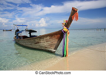 Thailand long tale boat - Traditional long tale boat at the...