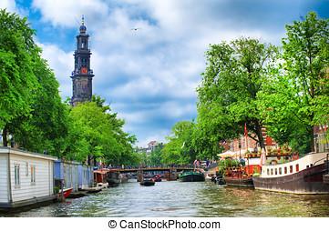 Westerkerk  clock tower amsterdam