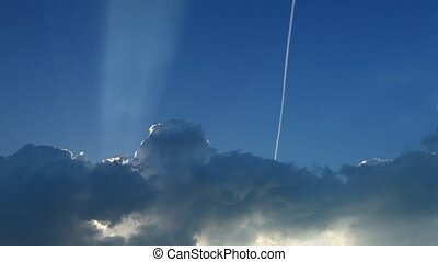 Clouds with airplane on the sky - Blue sky with clouds and...
