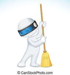3d Scalable Man with Broom - illustration of 3d man in...