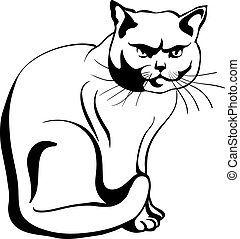 vector sketch of the british cat