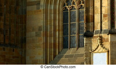 Pan on wall - architecture details of cathedral