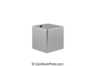 Metal Moneybox - Saving money concept using a metallic cube...