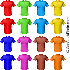 Bright colored shirts. Illustration on white background for...