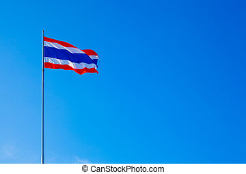Thai national flag. - Thai national flag flying in the sky...