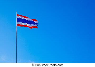 Thai national flag. - Thai national flag flying in the sky...