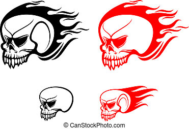 Danger skulls with flames as a warning or evil concept