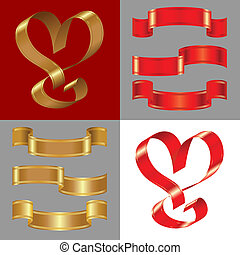 vector set of the shiny gold and red ribbons